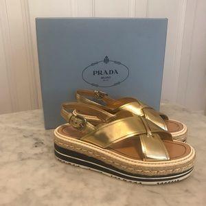 Prada platform rope sole sandals metallic gold